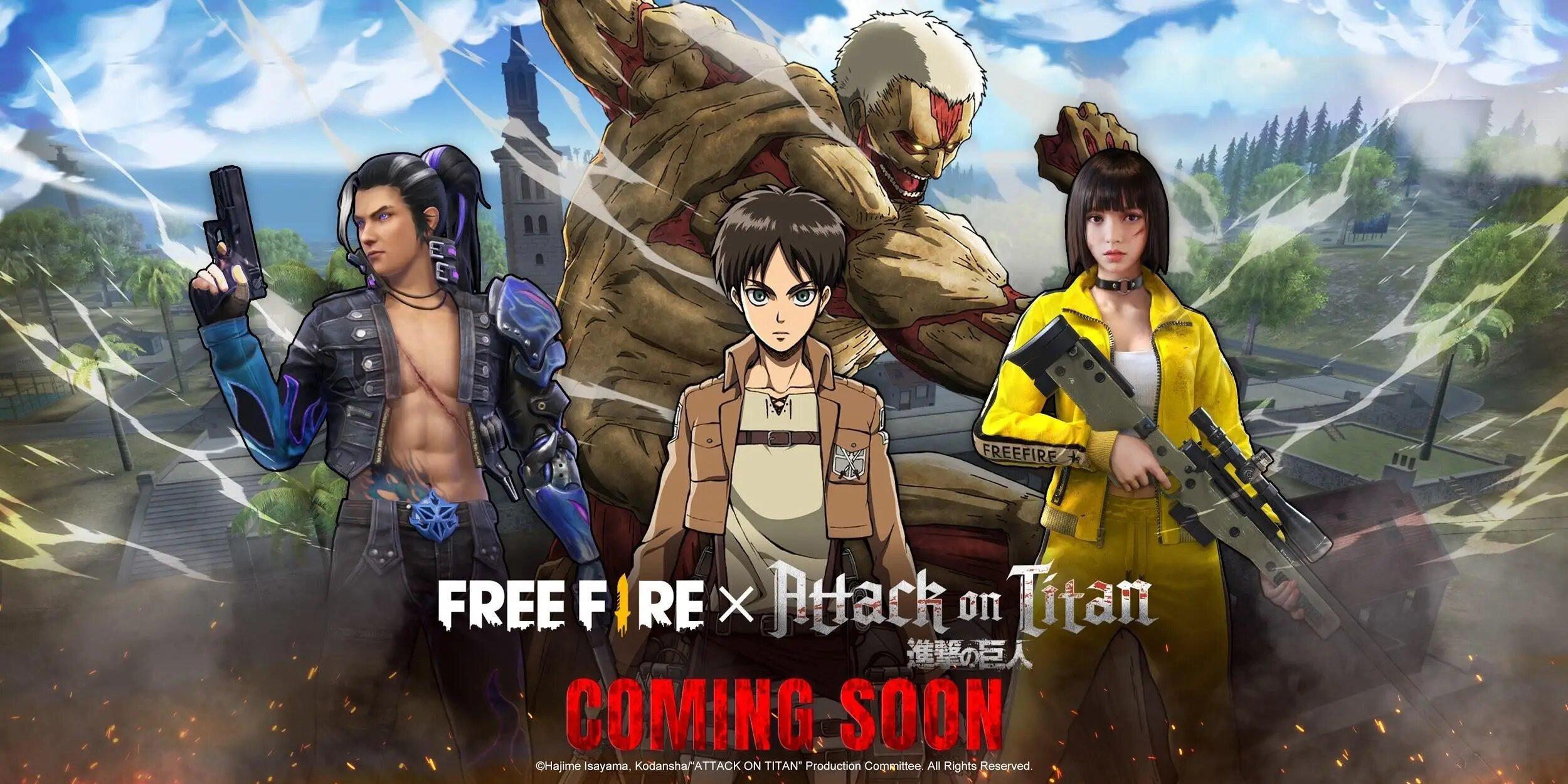 Shingeki no Kyojin anuncia una colaboración con Free Fire